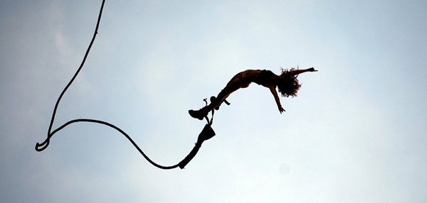 Bungee jumping naked